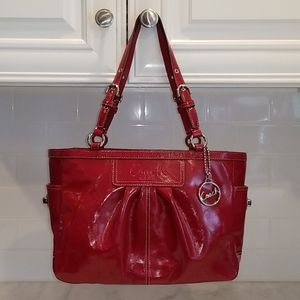 Coach RARE Red Gallery Patent Leather EW Tote